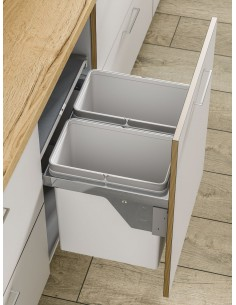 500mm Pull Out Kitchen Waste Bin, Side Mount 45L Double
