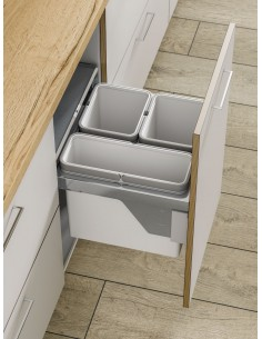 500mm Pull Out Kitchen Waste Bin, Side Mount 45L Triple