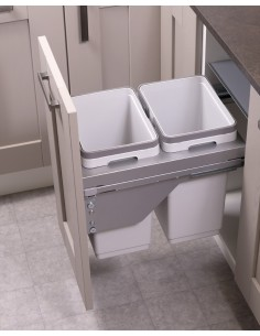 400mm Ace Kitchen Double Waste Bin 40 Litres Soft Closing