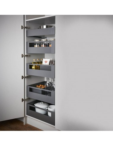 quality blum legrabox pure otion grey space tower 300 to 600mm widths x5 drawer sets. Black Bedroom Furniture Sets. Home Design Ideas