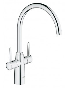 Grohe Ambi Contemporary Kitchen Tap 30189 Tall Chrome Twin Mixer