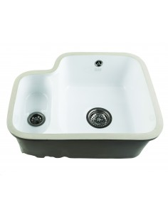 ETRODUO Ceramic Kitchen Sink Undermount White 1.5 Bowl