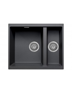 Quartz Black Kitchen Sink 1.5 Bowl Undermount, 555 X 460mm