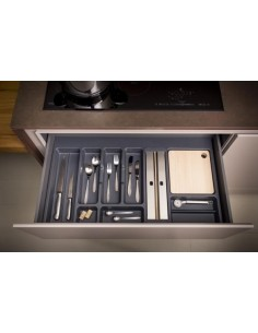 800mm Kitchen Cutlery Insert 697 to 740mm Width Matt Grey