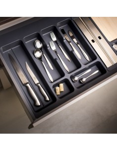 500mm Kitchen Cutlery Insert 397 to 451mm Width Matt Grey
