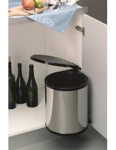 Stainless & Black Swing Bin 13L