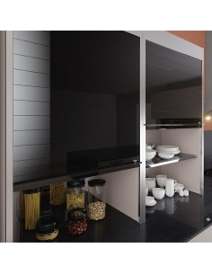 Black Vetro-Line Glass Tambour Door