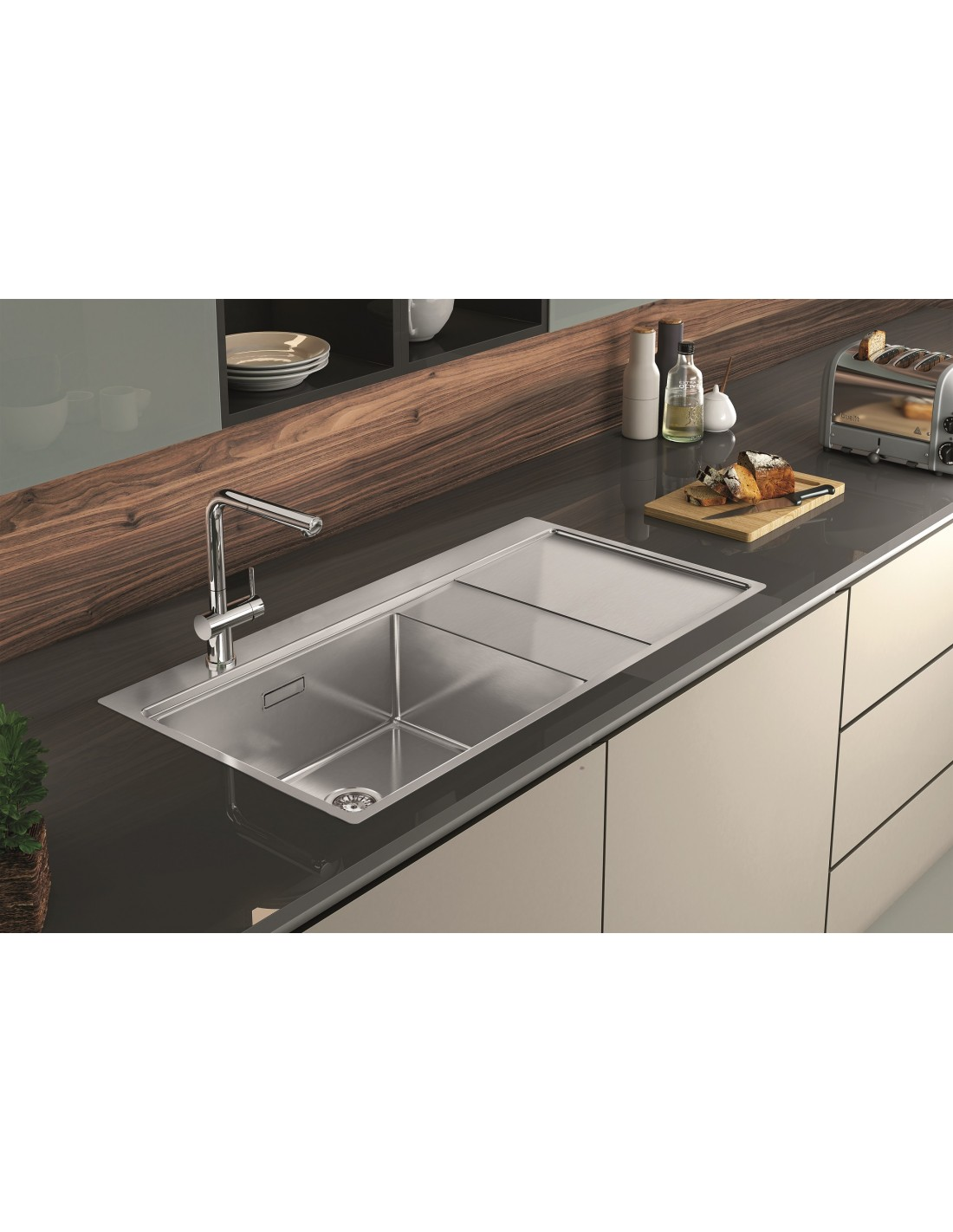 Clearwater Xeron Large Single Bowl Sink & Drainer Square ...