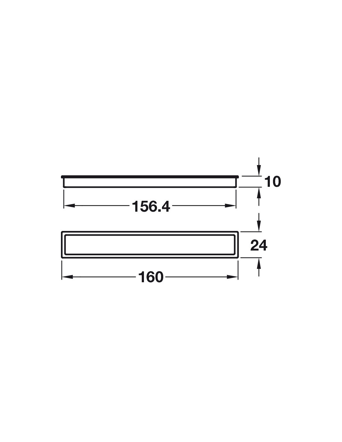 White Inset Door Handle 160mm Length The Cubic Modrrn