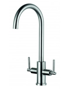 Clearwater Calypso Solid Stainless Steel Kitchen Tap Twin Lever