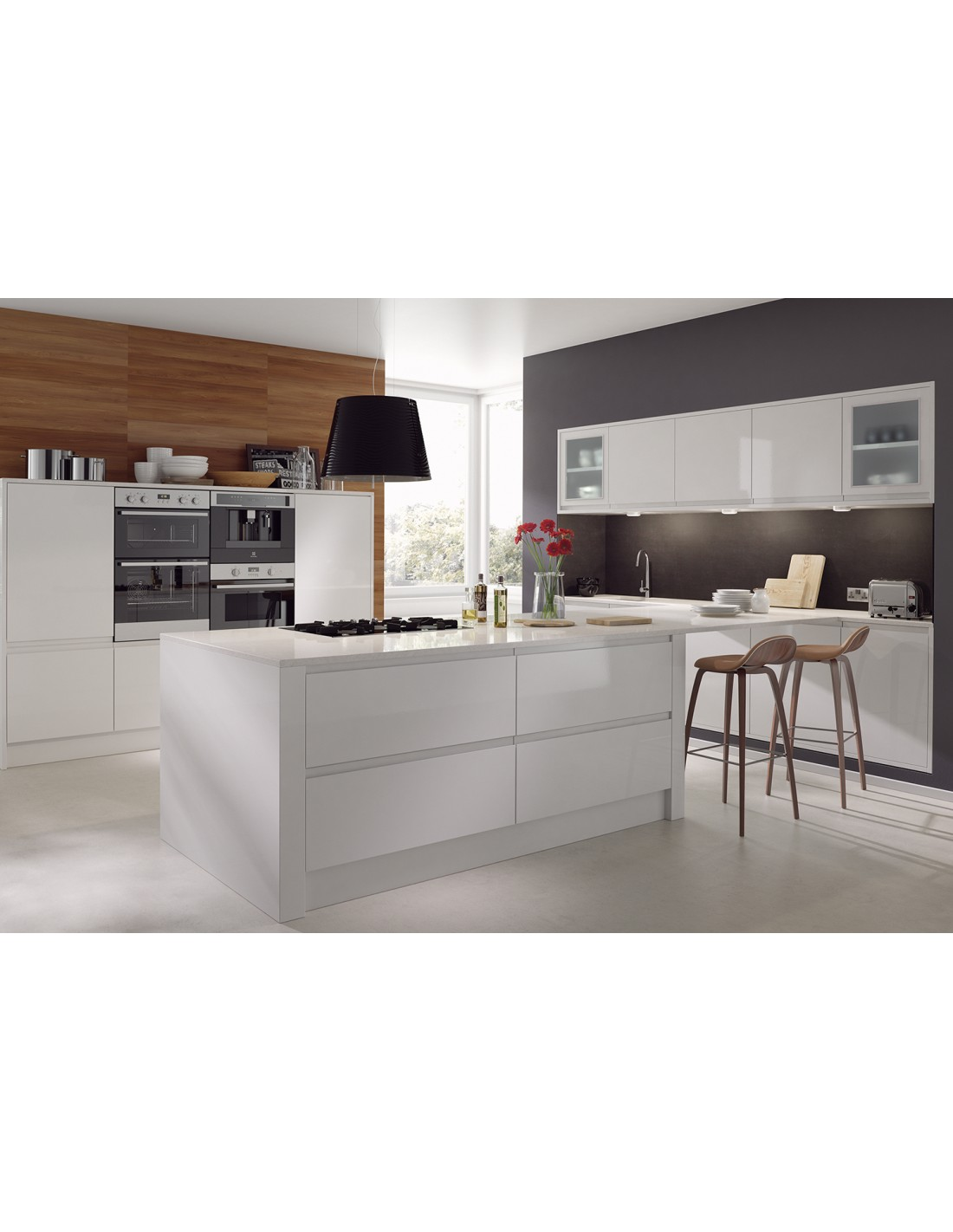 Avanti Opus White High Gloss J Pull Kitchen Doors, 22mm