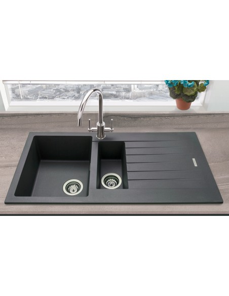 Prima 1 5 Bowl Kitchen Sink Composite Cpr305 Black 970 X