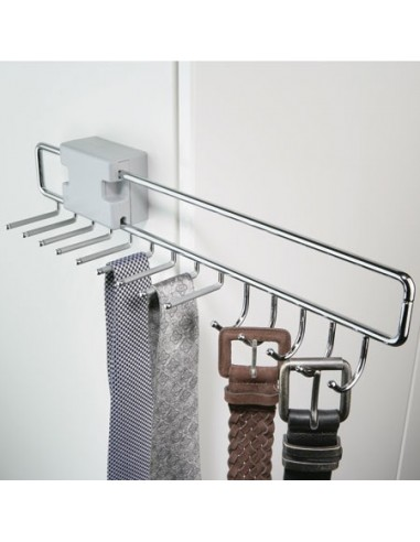 Pull Out Tie & Belt Rack Chome
