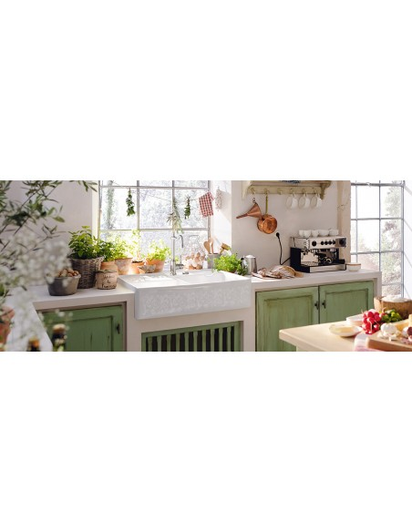 Villeroy & Boch Butler 90 Double Bowl Kitchen Sink White PEARL Ceramic