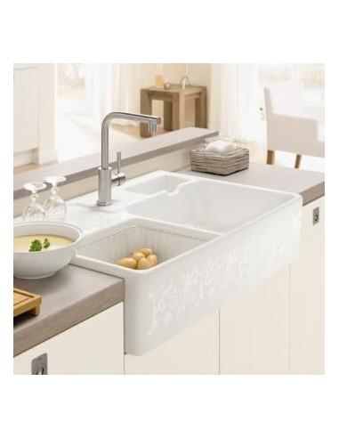 Villeroy & Boch Butler 90 Double Bowl Kitchen Sink White Ceramic PEARL