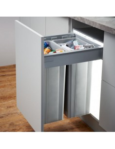 500mm Wesco Pullboy Z Waste Bin, 500mm Depth Blum Tandembox