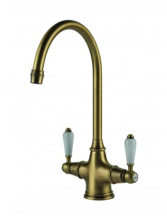 Clearwater Alrisha Twin White Lever Kitchen Tap