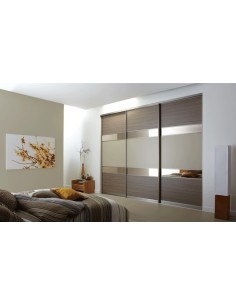 Volante Sliding Bedroom Doors Walnut & Bronzed Mirror