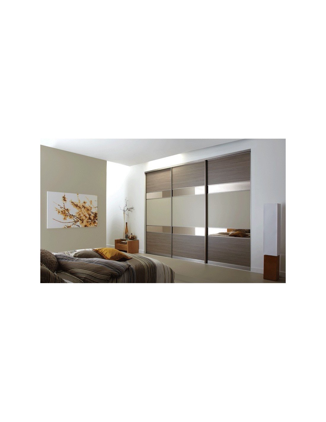 Volante sliding bedroom doors light red oak grey metal for Sliding bedroom doors