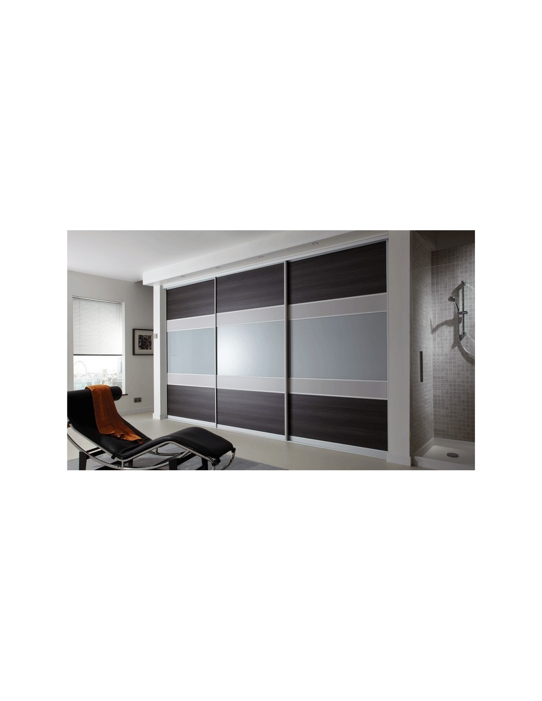 Volante sliding bedroom doors walnut bronzed mirror for Sliding bedroom doors