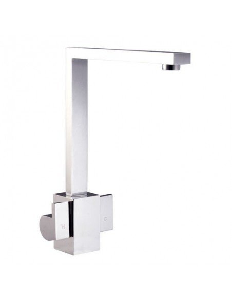 Dakota Designer Double Lever Kitchen Tap Brushed Steel