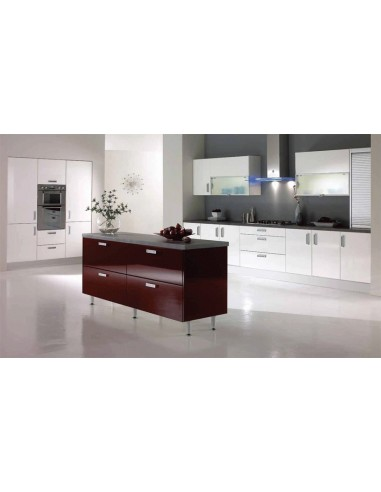 Fusion High Gloss White & Burgundy Kitchen Doors/Units
