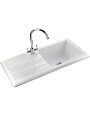 Rangemaster Portland 1.0 Bowl Ceramic Kitchen Sink CPL1010 White ...