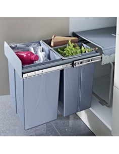 Tek Pull Out Waste Bin 40 Litres Base Mounted 400mm Cabinet