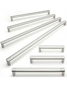 Modern D Handle 128-512mm Centres Brushed Nickel 7 Sizes