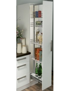 400mm Pull Out Kitchen Larder Shelves Soft Close White/Black Inserts