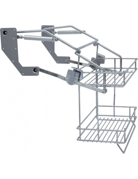 Pull Down Two Tier Wire Shelf 500/600mm Widths Chrome Steel