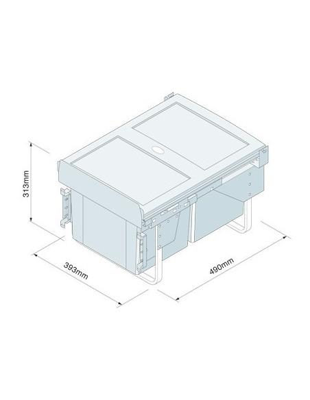 BIN18 Kitchen Pull out Waste Bin Hinged & Fixed Door Sink Base