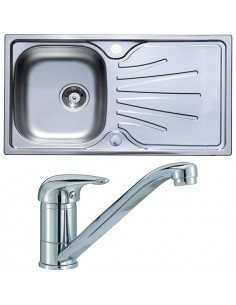 Single Bowl Kitchen Sink Stainless Steel & Kitchen Tap Pack Chrome