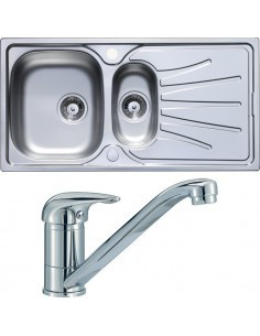 Stainless Steel 1.5 Bowl Sink & Tap Pack Chrome Single Lever