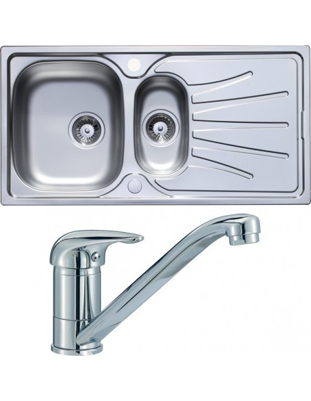 Stainless Steel 1.5 Bowl Sink & Tap Pack Chrome Single Lever Langdale