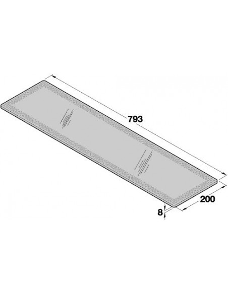 Glass Shelves Clear 8mm Radius Polished Edges 793 x 200mm