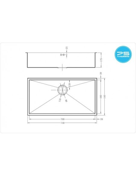 Zenuno 700U Sharp Square Kitchen Sink Under mount 770 x 440mm