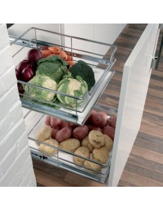 600mm Kitchen Unit Pull Out Basket Set & Soft Closing Runners