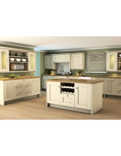 Westwood Oak Timber Shaker Kitchen Doors Painted Ivory Solid One Peice Frame