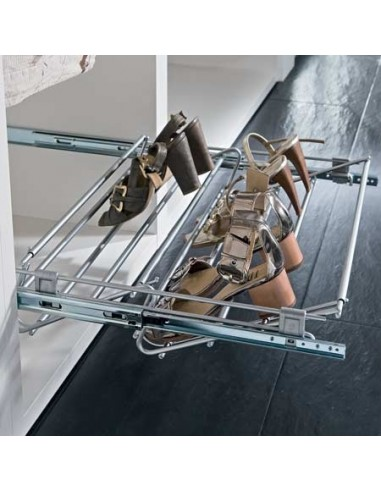 Pull Out Shoe Rack Width Adjustable Chrome, 564 to 1000mm