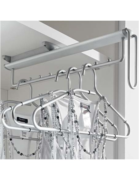 Pull Out Clothes Hanging Rail Chrome Undermount To Shelves & Wardrobes