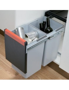 Cube 300mm Kitchen Unit Waste Bin, 2x15