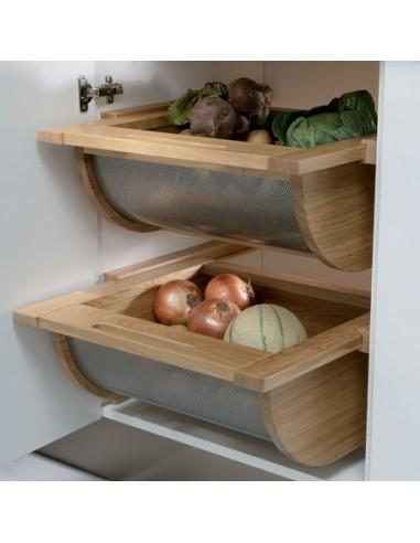 54051 Wooden/Stainless Steel Vegetable Basket Drawer Oak/Beech 500-600mm Width