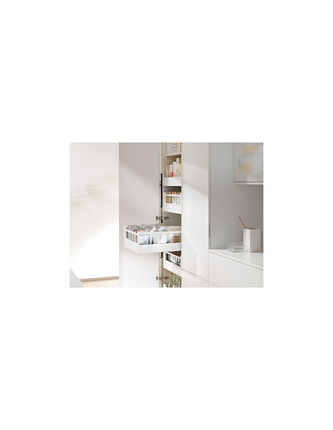 Silk white blum internal pan drawer set 450mm depth for Kitchen cabinets 450mm depth
