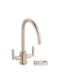 ZP1045 Abode Atlas Kitchen Tap Twin Lever Monobloc Brushed Nickel