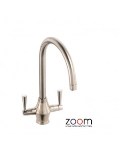ZP1060 Abode Astral Kitchen Tap Twin Lever Monobloc Brushed Nickel