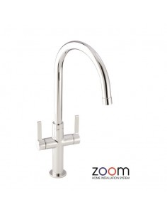ZP1067 Abode Linear Style Kitchen Tap Twin Lever Monobloc Chrome