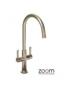 ZP1068 Abode Linear Style Kitchen Tap Twin Lever Monobloc Brushed Nickel