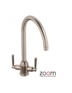 ZP1011 Abode Brampten Kitchen Tap Monobloc Brushed Nickel Twin Levers