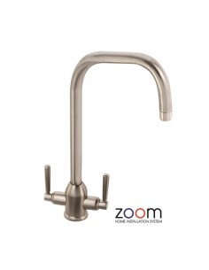 ZP1013 Abode Darley Kitchen Tap Monobloc Brushed Nickel Twin Levers